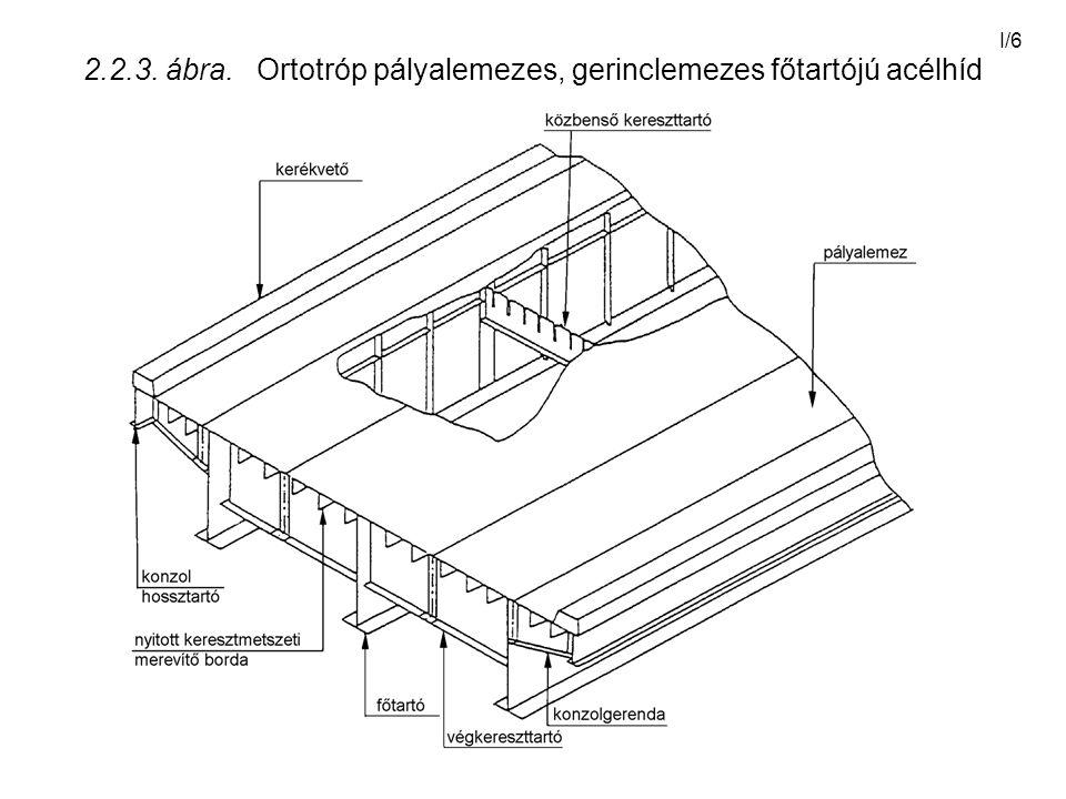 I/6 2.2.3. ábra. Ortotróp pályalemezes, gerinclemezes főtartójú acélhíd