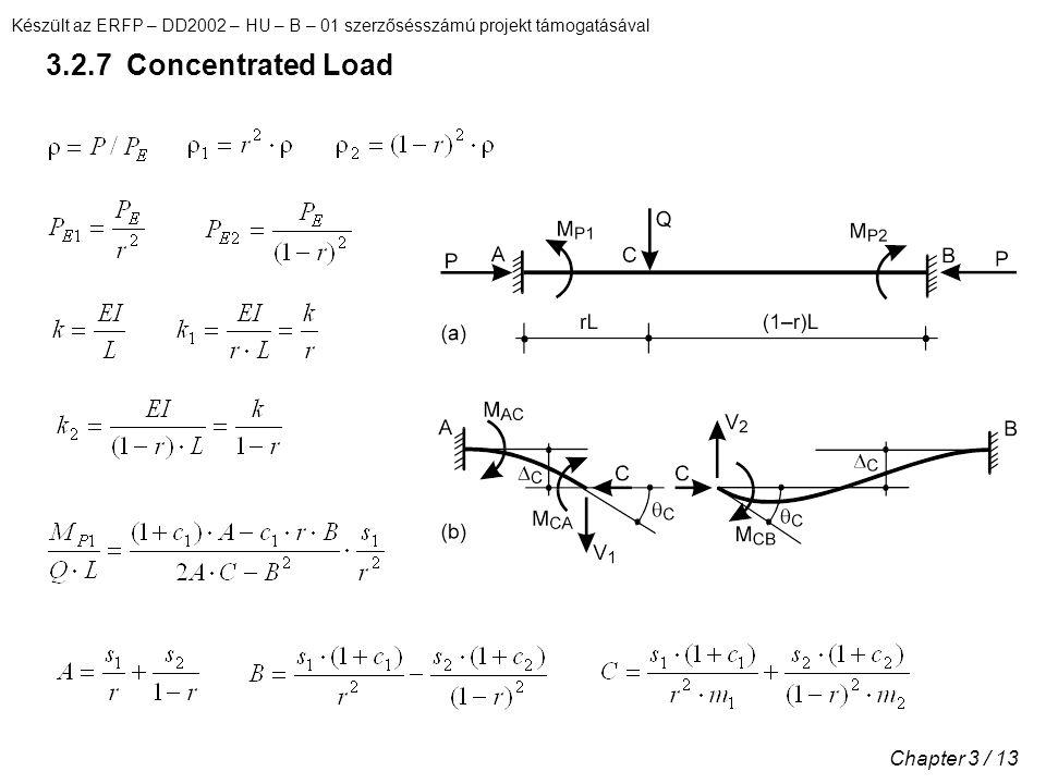 Készült az ERFP – DD2002 – HU – B – 01 szerzősésszámú projekt támogatásával Chapter 3 / 13 3.2.7 Concentrated Load