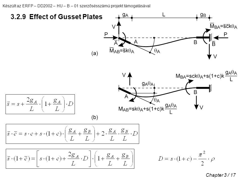 Készült az ERFP – DD2002 – HU – B – 01 szerzősésszámú projekt támogatásával Chapter 3 / 17 3.2.9 Effect of Gusset Plates