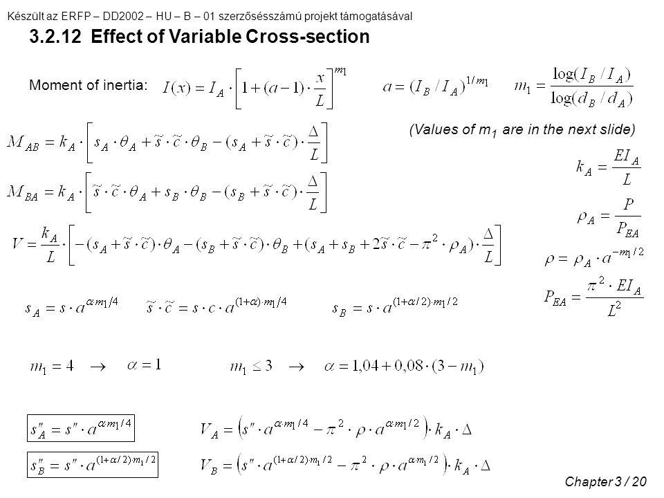 Készült az ERFP – DD2002 – HU – B – 01 szerzősésszámú projekt támogatásával Chapter 3 / 20 3.2.12 Effect of Variable Cross-section Moment of inertia: (Values of m 1 are in the next slide)