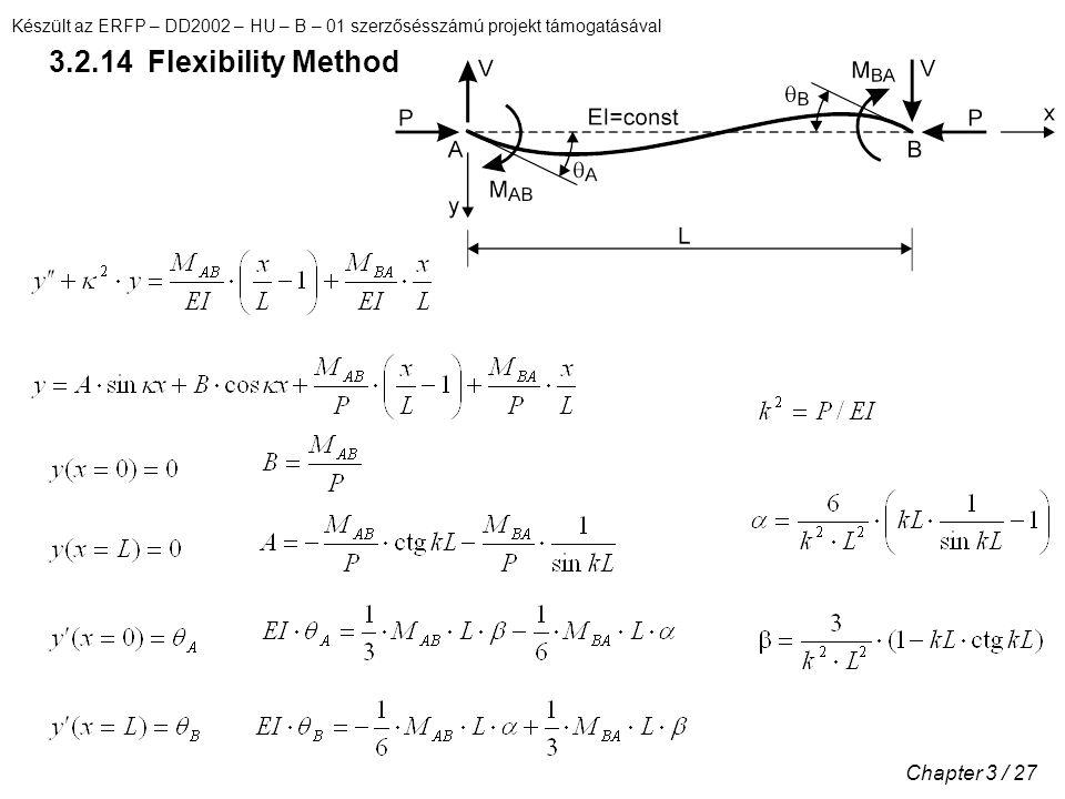 Készült az ERFP – DD2002 – HU – B – 01 szerzősésszámú projekt támogatásával Chapter 3 / 27 3.2.14 Flexibility Method
