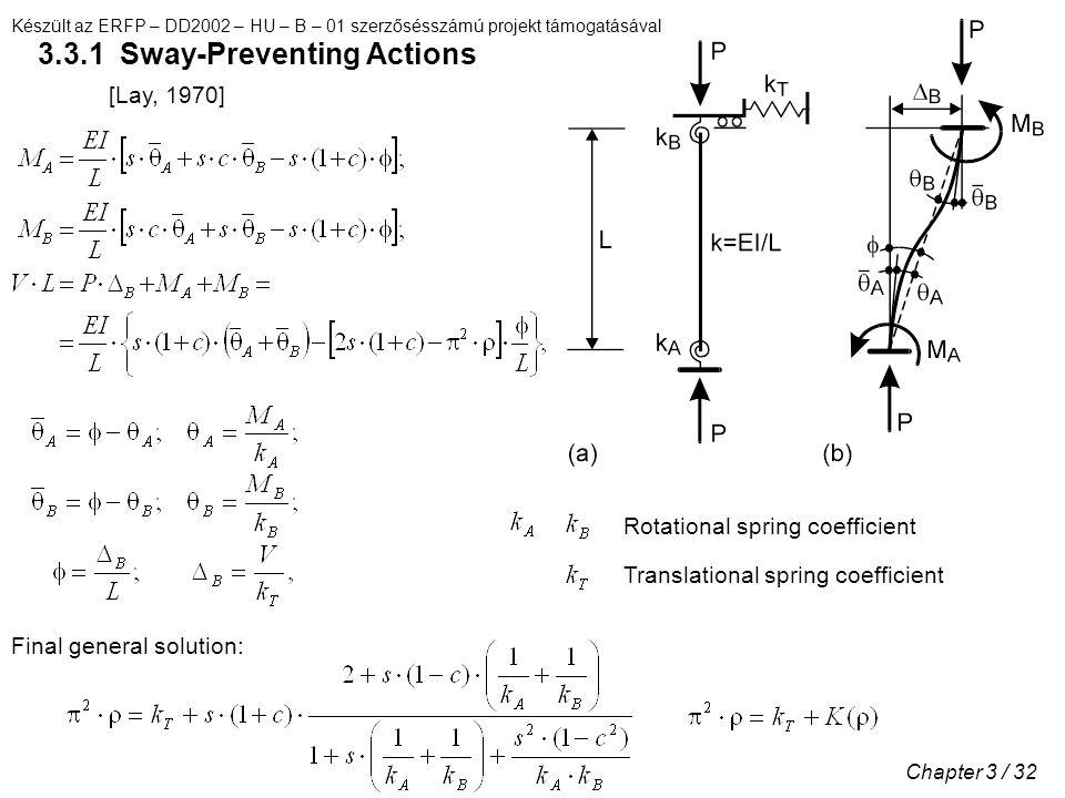 Készült az ERFP – DD2002 – HU – B – 01 szerzősésszámú projekt támogatásával Chapter 3 / 32 3.3.1 Sway-Preventing Actions [Lay, 1970] Rotational spring coefficient Translational spring coefficient Final general solution: