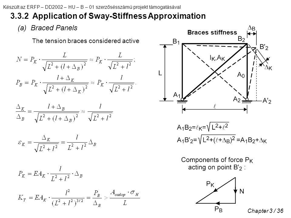 Készült az ERFP – DD2002 – HU – B – 01 szerzősésszámú projekt támogatásával Chapter 3 / 36 3.3.2 Application of Sway-Stiffness Approximation (a) Braced Panels The tension braces considered active Braces stiffness