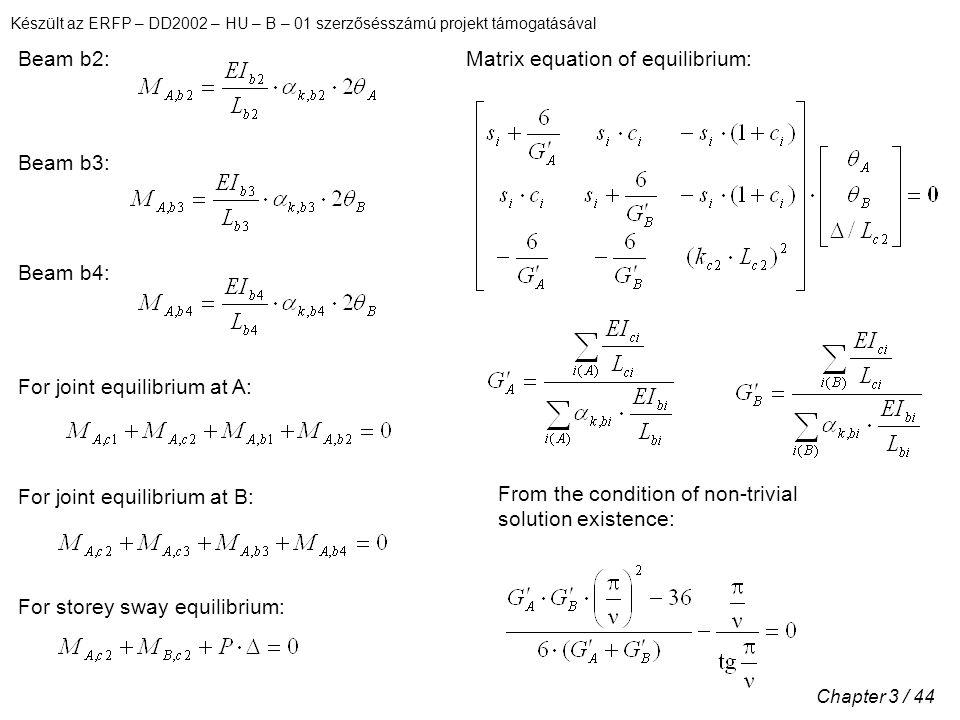 Készült az ERFP – DD2002 – HU – B – 01 szerzősésszámú projekt támogatásával Chapter 3 / 44 Beam b2: Beam b3: Beam b4: For joint equilibrium at A: For joint equilibrium at B: From the condition of non-trivial solution existence: For storey sway equilibrium: Matrix equation of equilibrium:
