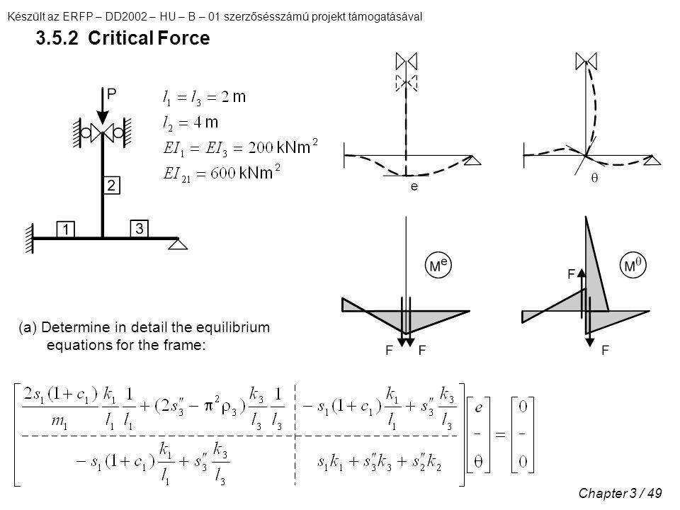 Készült az ERFP – DD2002 – HU – B – 01 szerzősésszámú projekt támogatásával Chapter 3 / 49 3.5.2 Critical Force (a) Determine in detail the equilibrium equations for the frame: