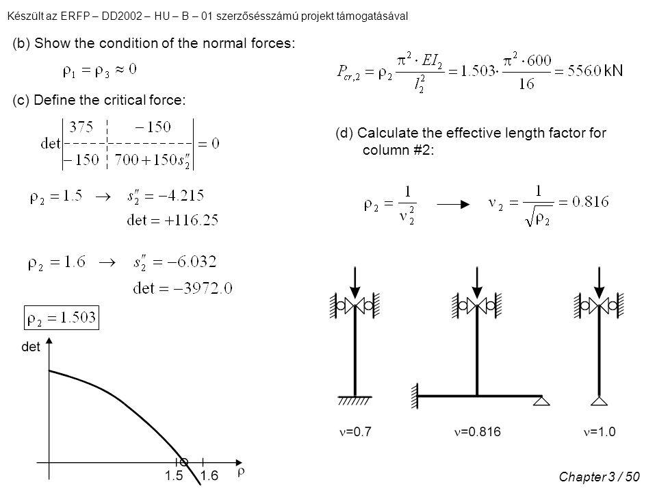 Készült az ERFP – DD2002 – HU – B – 01 szerzősésszámú projekt támogatásával Chapter 3 / 50 (b) Show the condition of the normal forces: (c) Define the critical force: (d) Calculate the effective length factor for column #2: