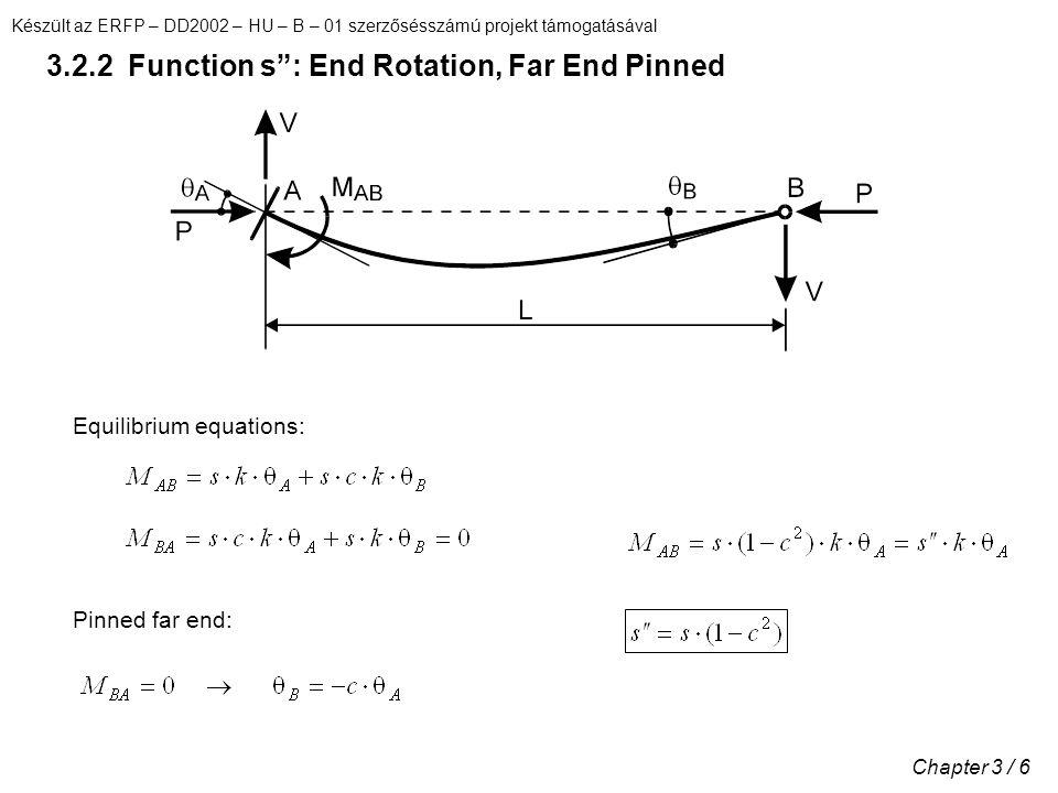 Készült az ERFP – DD2002 – HU – B – 01 szerzősésszámú projekt támogatásával Chapter 3 / 6 3.2.2 Function s : End Rotation, Far End Pinned Equilibrium equations: Pinned far end: