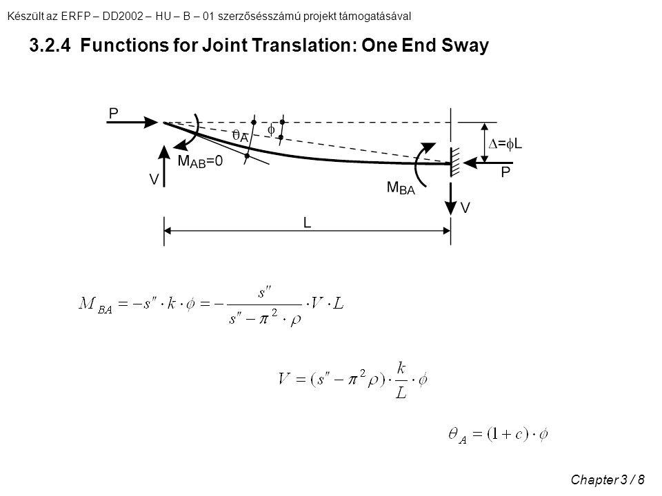 Készült az ERFP – DD2002 – HU – B – 01 szerzősésszámú projekt támogatásával Chapter 3 / 8 3.2.4 Functions for Joint Translation: One End Sway