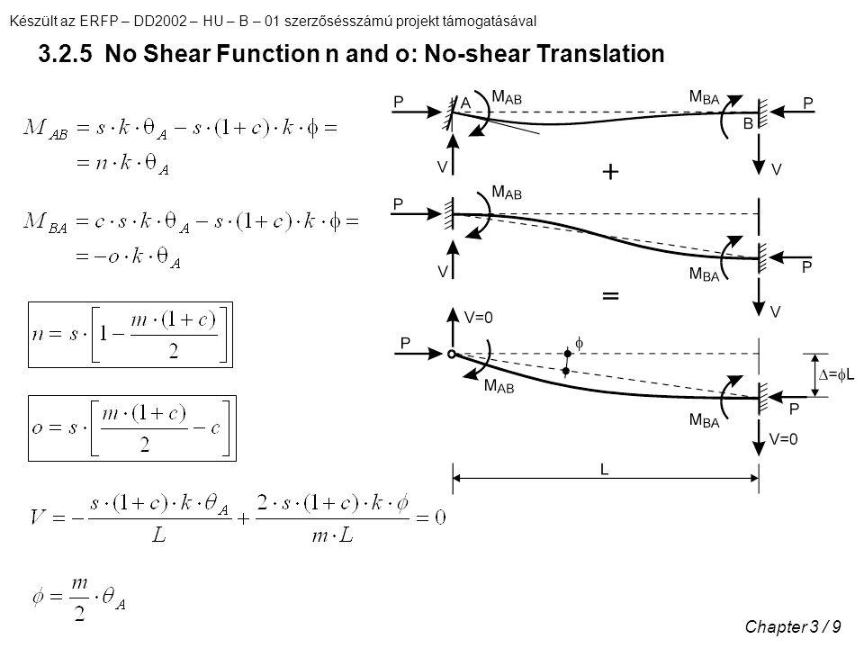 Készült az ERFP – DD2002 – HU – B – 01 szerzősésszámú projekt támogatásával Chapter 3 / 9 3.2.5 No Shear Function n and o: No-shear Translation