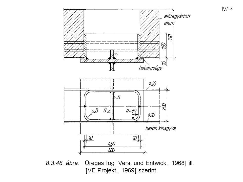 IV/14 8.3.48. ábra. Üreges fog  Vers. und Entwick., 1968  ill.  VE Projekt., 1969  szerint