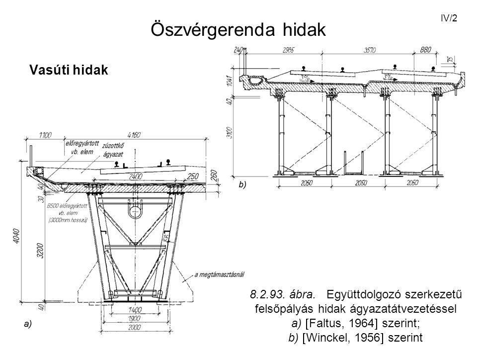 IV/23 Hajlítónyomaték esetén M nagyságú hajlítónyomaték esetén az acélban illetve a betonban keletkező feszültség: 7.3.3.