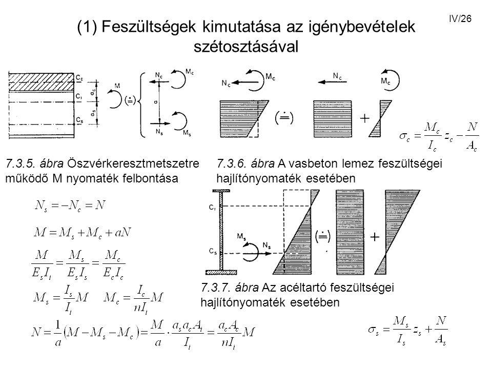 IV/26 (1) Feszültségek kimutatása az igénybevételek szétosztásával 7.3.5.