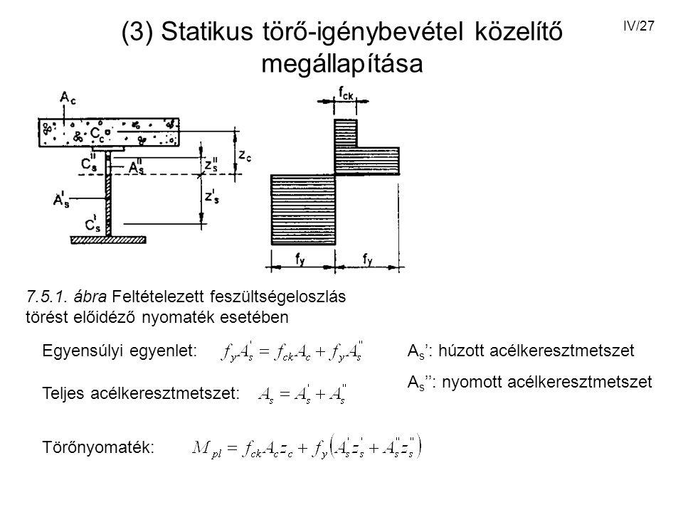 IV/27 (3) Statikus törő-igénybevétel közelítő megállapítása 7.5.1.