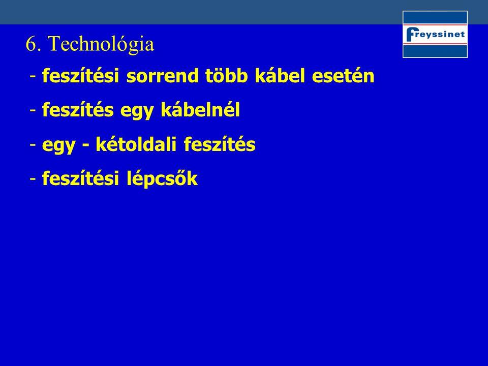 6. Technológia - feszítési sorrend több kábel esetén - feszítés egy kábelnél - egy - kétoldali feszítés - feszítési lépcsők