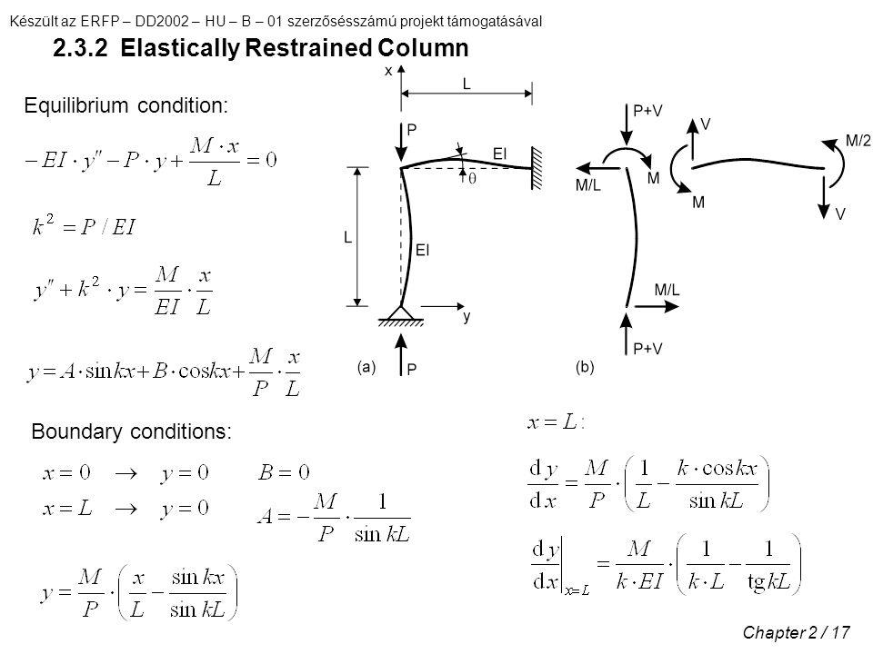 Készült az ERFP – DD2002 – HU – B – 01 szerzősésszámú projekt támogatásával Chapter 2 / 17 2.3.2 Elastically Restrained Column Equilibrium condition: Boundary conditions: