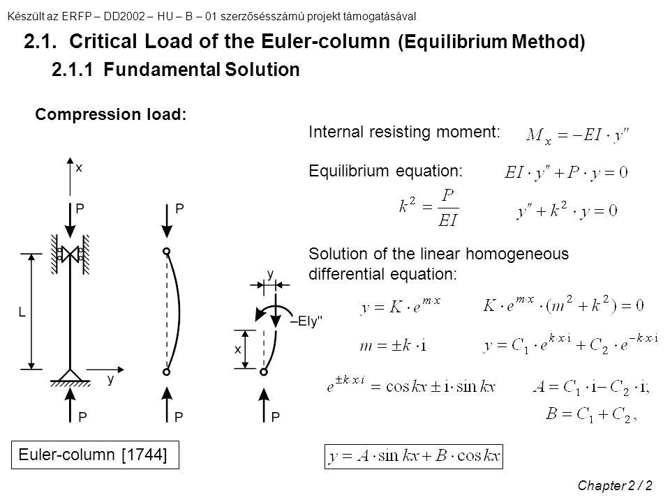 Készült az ERFP – DD2002 – HU – B – 01 szerzősésszámú projekt támogatásával Chapter 2 / 43 2.6.3 Buckling Load of Column with Variable Cross-section Rayleigh–Ritz Method [Koranyi, 1965]Buckled shape: Strain energy: External work: Column with varying moment of inertia