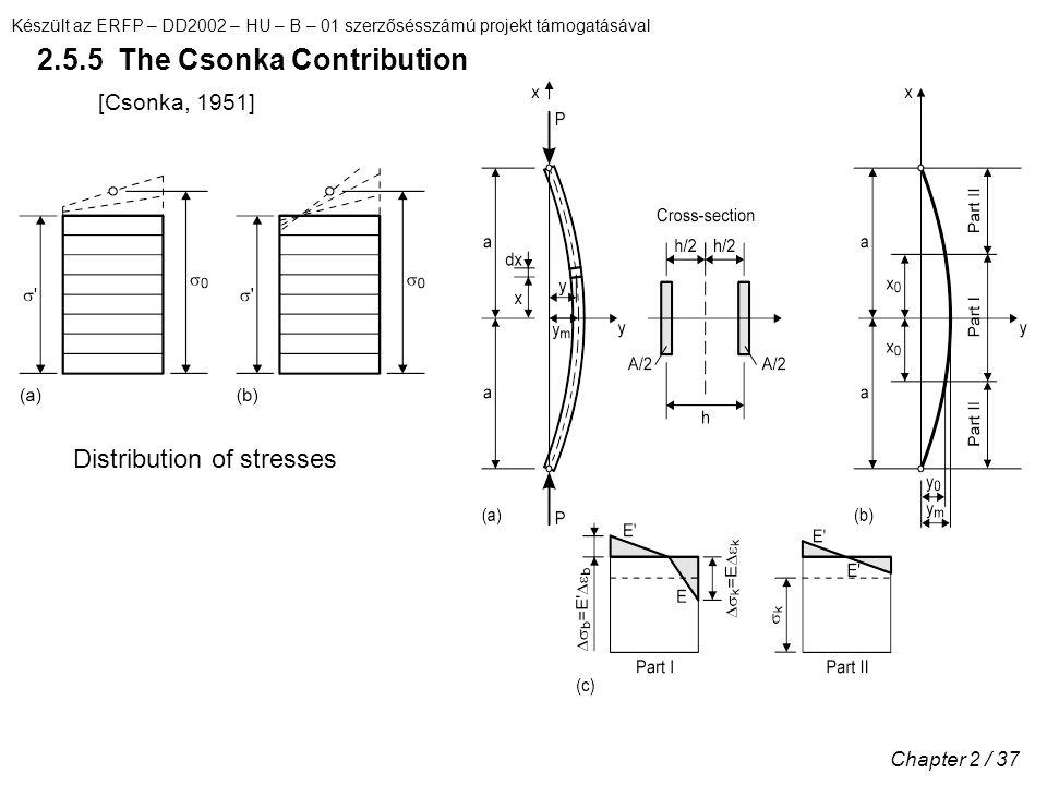 Készült az ERFP – DD2002 – HU – B – 01 szerzősésszámú projekt támogatásával Chapter 2 / 37 2.5.5 The Csonka Contribution [Csonka, 1951] Distribution of stresses