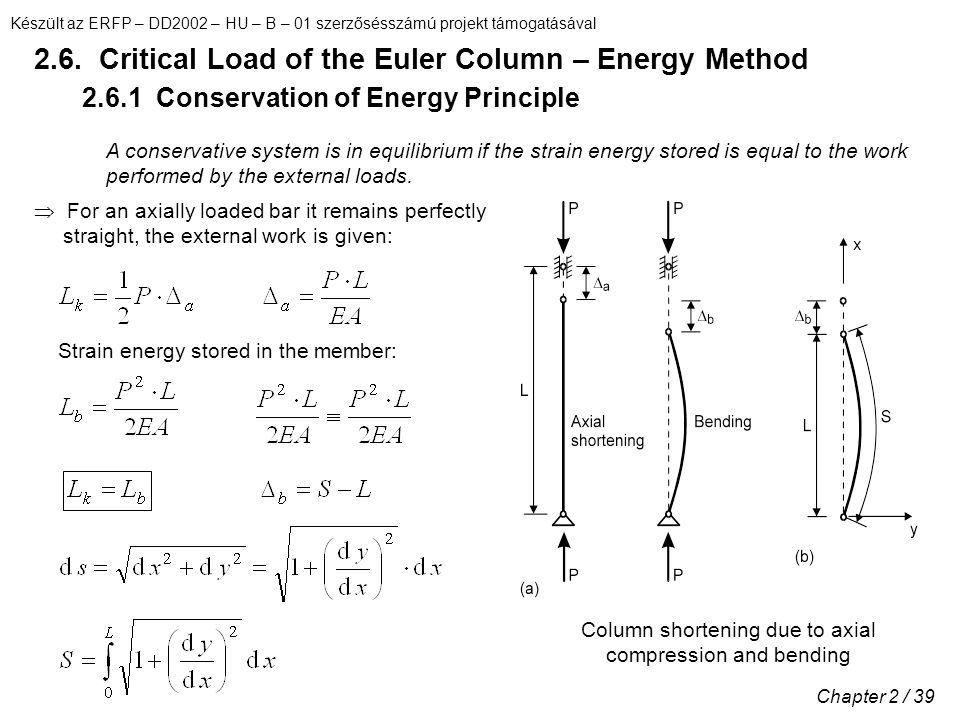 Készült az ERFP – DD2002 – HU – B – 01 szerzősésszámú projekt támogatásával Chapter 2 / 39 2.6. Critical Load of the Euler Column – Energy Method 2.6.