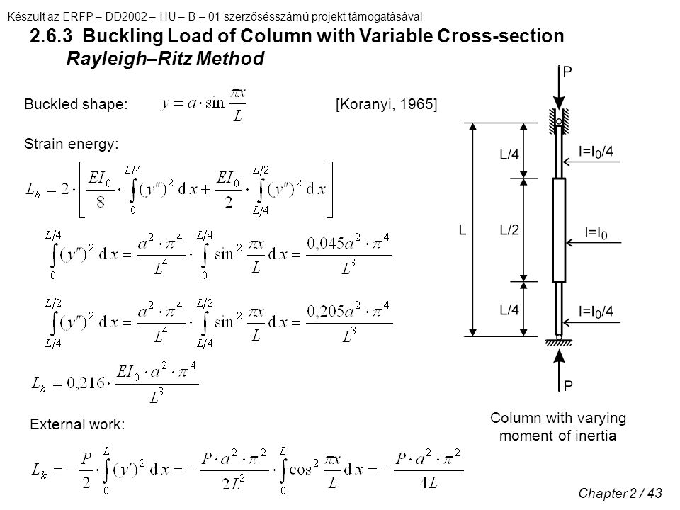 Készült az ERFP – DD2002 – HU – B – 01 szerzősésszámú projekt támogatásával Chapter 2 / 43 2.6.3 Buckling Load of Column with Variable Cross-section Rayleigh–Ritz Method [Koranyi, 1965]Buckled shape: Strain energy: External work: Column with varying moment of inertia