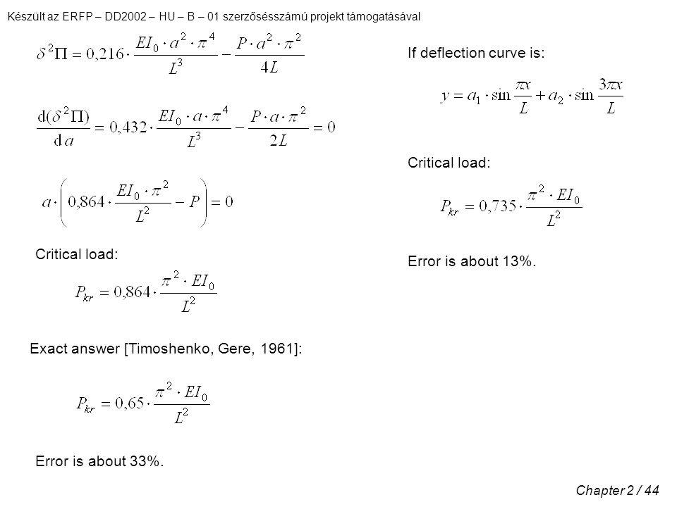 Készült az ERFP – DD2002 – HU – B – 01 szerzősésszámú projekt támogatásával Chapter 2 / 44 Critical load: Exact answer [Timoshenko, Gere, 1961]: Error is about 33%.