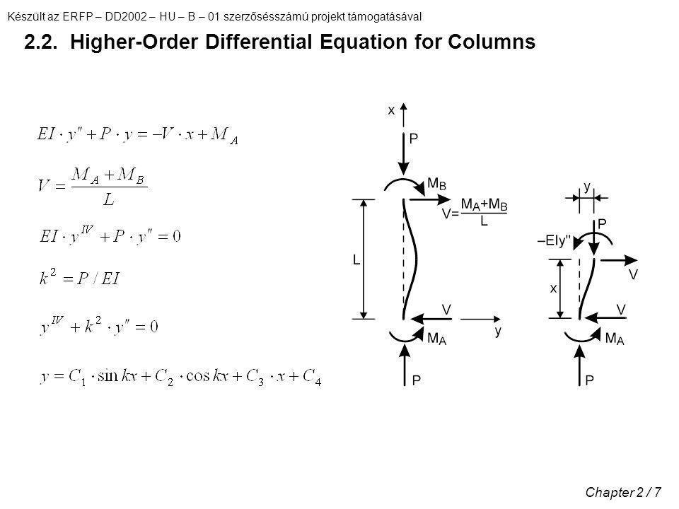 Készült az ERFP – DD2002 – HU – B – 01 szerzősésszámú projekt támogatásával Chapter 2 / 7 2.2. Higher-Order Differential Equation for Columns