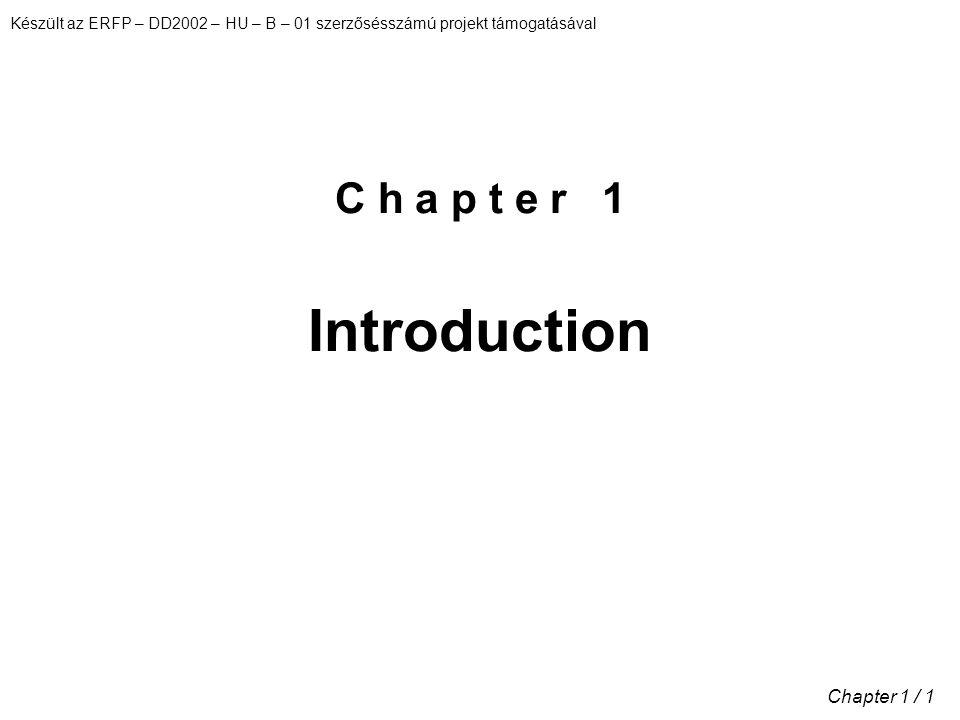 Készült az ERFP – DD2002 – HU – B – 01 szerzősésszámú projekt támogatásával Chapter 1 / 1 C h a p t e r 1 Introduction