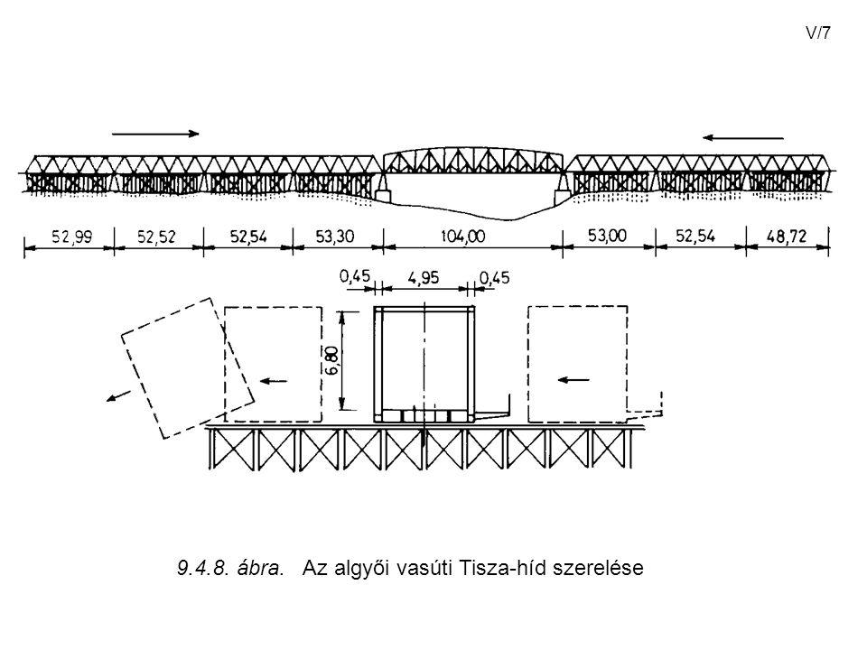 V/7 9.4.8. ábra. Az algyői vasúti Tisza-híd szerelése