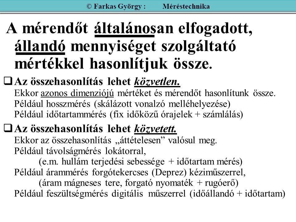 MÉRÉS LÉNYEGE AZ ÖSSZEHASOLÍTÁS © Farkas György : Méréstechnika