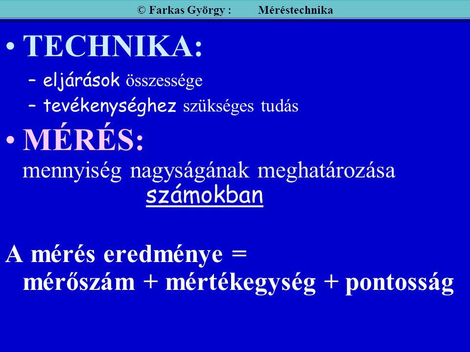 MÉRÉS Mit jelent a Technika ? Mit jelent a Mérés? © Farkas György : Méréstechnika TECHNIKA