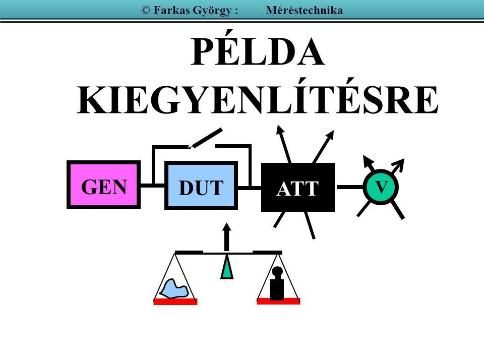 © Farkas György : Méréstechnika PÉLDA KIEGYENLÍTÉSRE DUT GEN ATT V