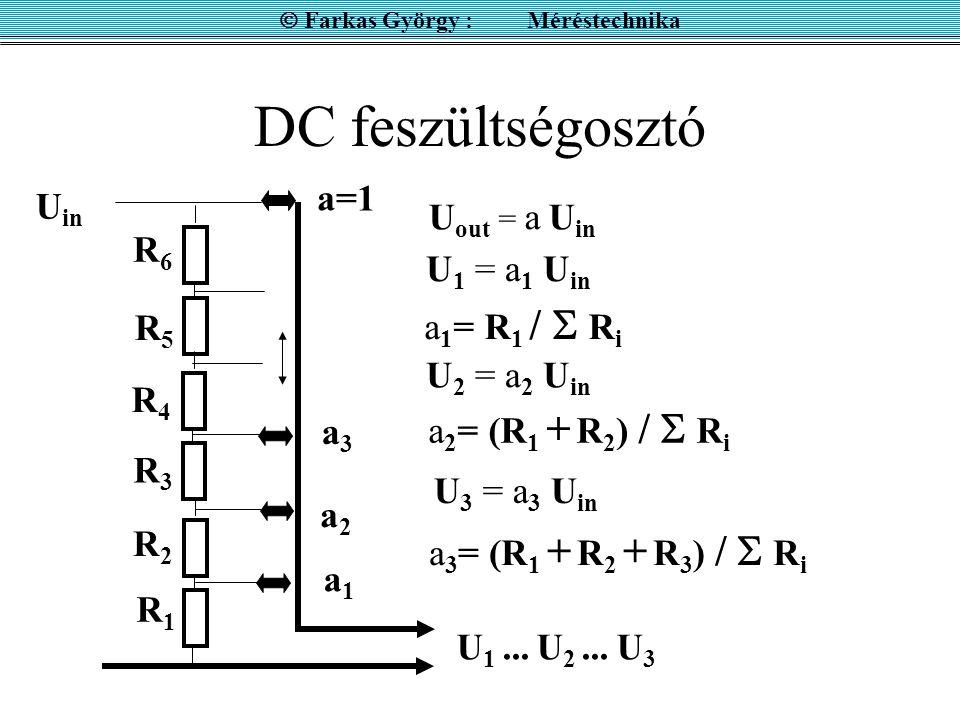 DC feszültségosztó U out = a U in a=1 a1a1 a3a3 a2a2 R1R1 R2R2 R3R3 R4R4 R5R5 R6R6 U 1 = a 1 U in a 1 = R 1 /  R i a 2 = (R 1 + R 2 ) /  R i a 3 = (
