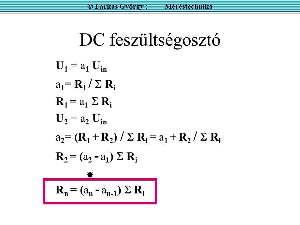 DC feszültségosztó U 1 = a 1 U in a 1 = R 1 /  R i R 1 = a 1  R i U 2 = a 2 U in a 2 = (R 1 + R 2 ) /  R i = a 1 + R 2 /  R i R 2 = (a 2 - a 1 ) 