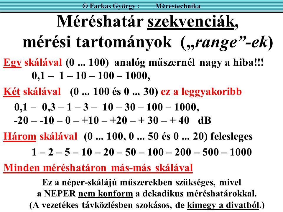 """Méréshatár szekvenciák, mérési tartományok (""""range""""-ek) Egy skálával (0... 100) analóg műszernél nagy a hiba!!! 0,1 – 1 – 10 – 100 – 1000, Két skáláva"""