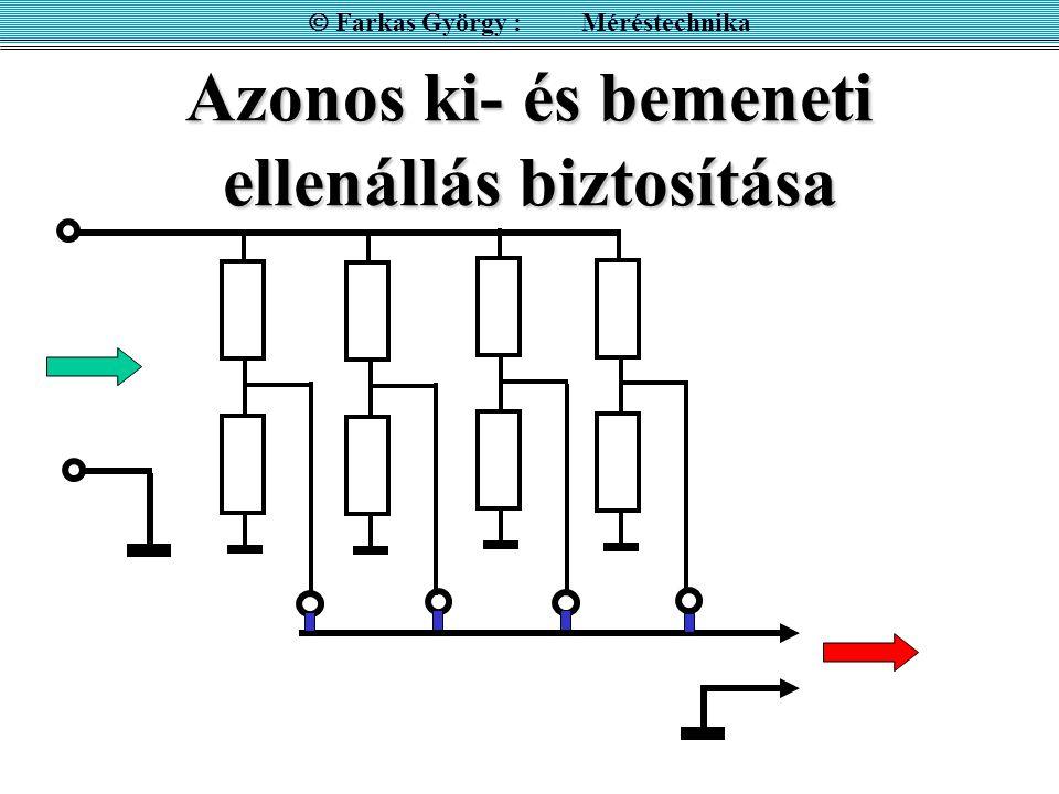 Azonos ki- és bemeneti ellenállás biztosítása  Farkas György : Méréstechnika