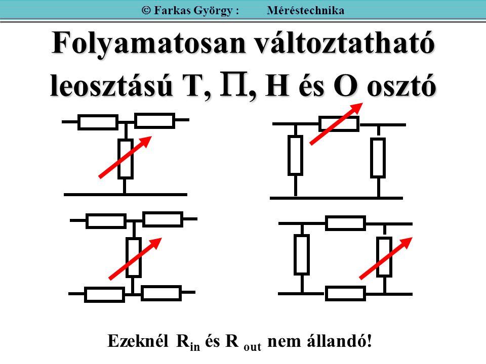 Folyamatosan változtatható leosztású T, , H és O osztó  Farkas György : Méréstechnika Ezeknél R in és R out nem állandó!
