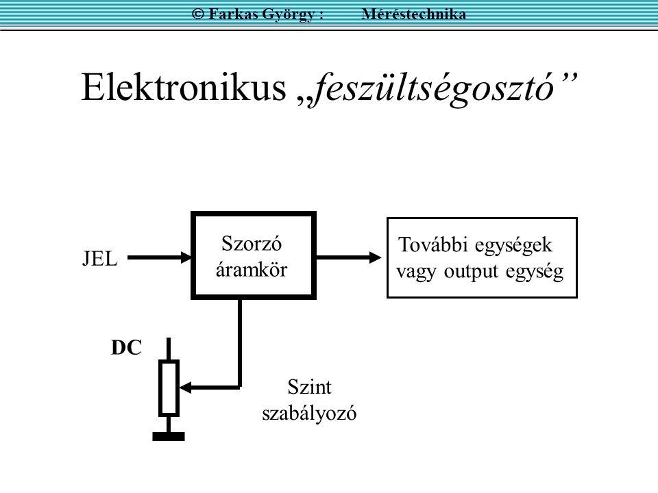 """Elektronikus """"feszültségosztó""""  Farkas György : Méréstechnika Szorzó áramkör DC JEL Szint szabályozó További egységek vagy output egység"""