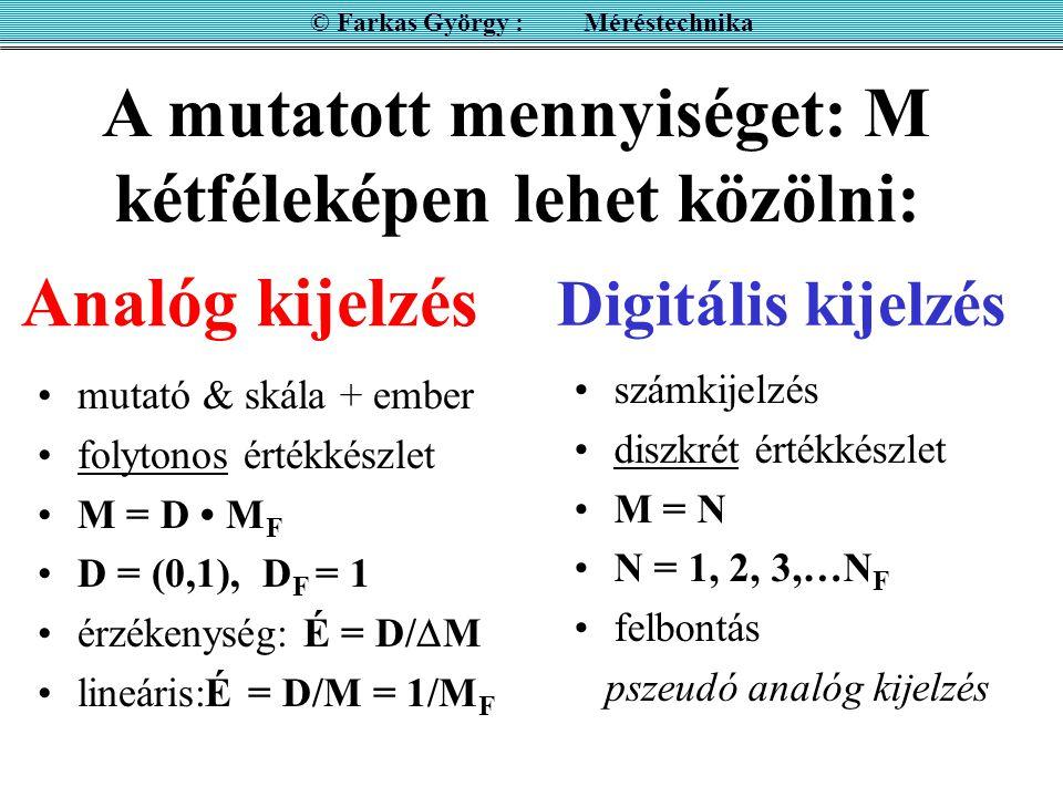 DIGITÁLIS KIJELZÉS 0000 … 0001... 9999 Felbontás = 1 N F (full) © Farkas György : Méréstechnika