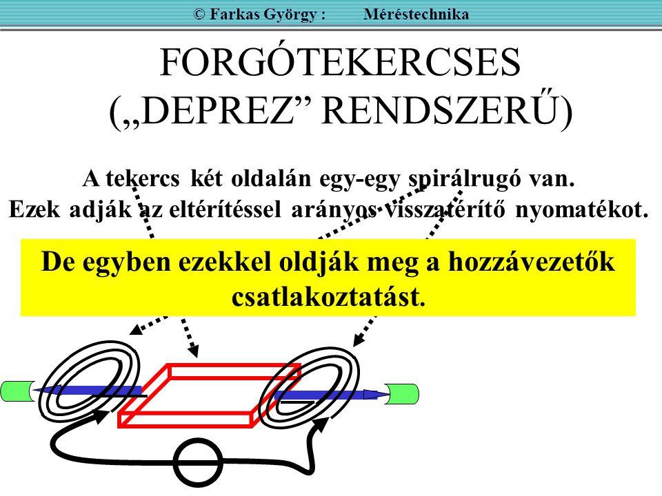 """FORGÓTEKERCSES (""""DEPREZ RENDSZERŰ) © Farkas György : Méréstechnika tekercs mutató tengelyek csapágyak TEKERCS"""