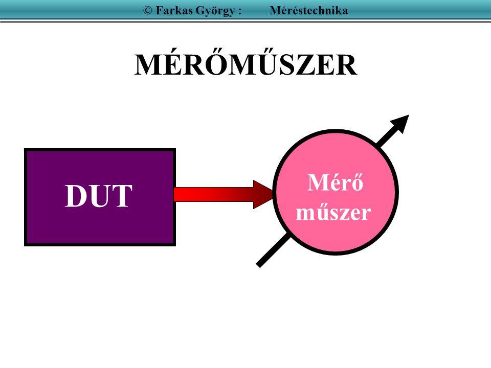 mutató & skála + ember folytonos értékkészlet M = D M F D = (0,1), D F = 1 érzékenység: É = D/  M lineáris:É = D/M = 1/M F számkijelzés diszkrét értékkészlet M = N N = 1, 2, 3,…N F felbontás pszeudó analóg kijelzés © Farkas György : Méréstechnika Analóg kijelzés Digitális kijelzés A mutatott mennyiséget: M kétféleképen lehet közölni: