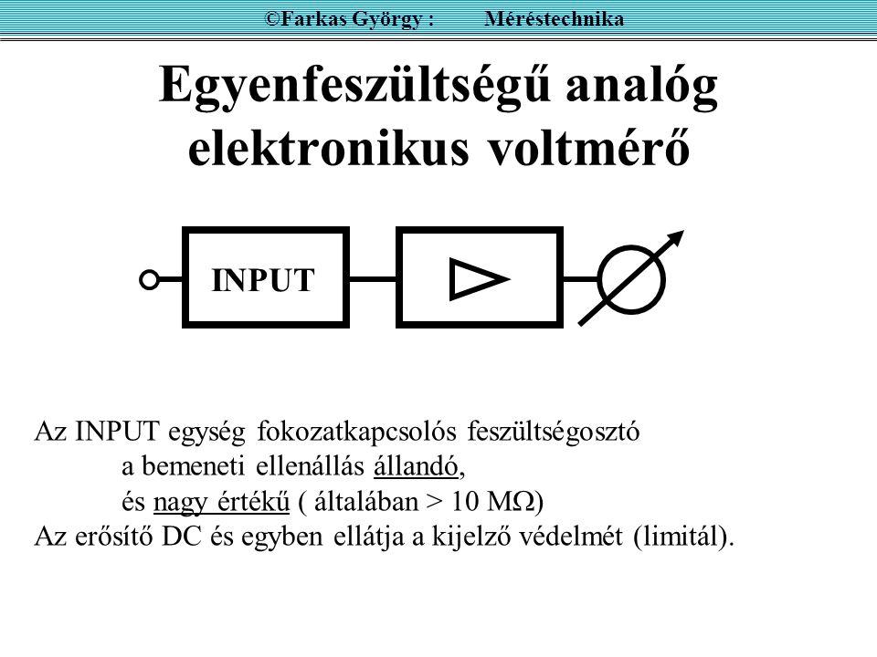A csúcsérték mérése ©Farkas György : Méréstechnika R töltő R kisütő C  töltő = R töltő C  kisütő = R kisütő C Ideális eset: R töltő = 0, R kisütő =  Mi lesz az eredmény, ha mérés közben nő a feszültség .