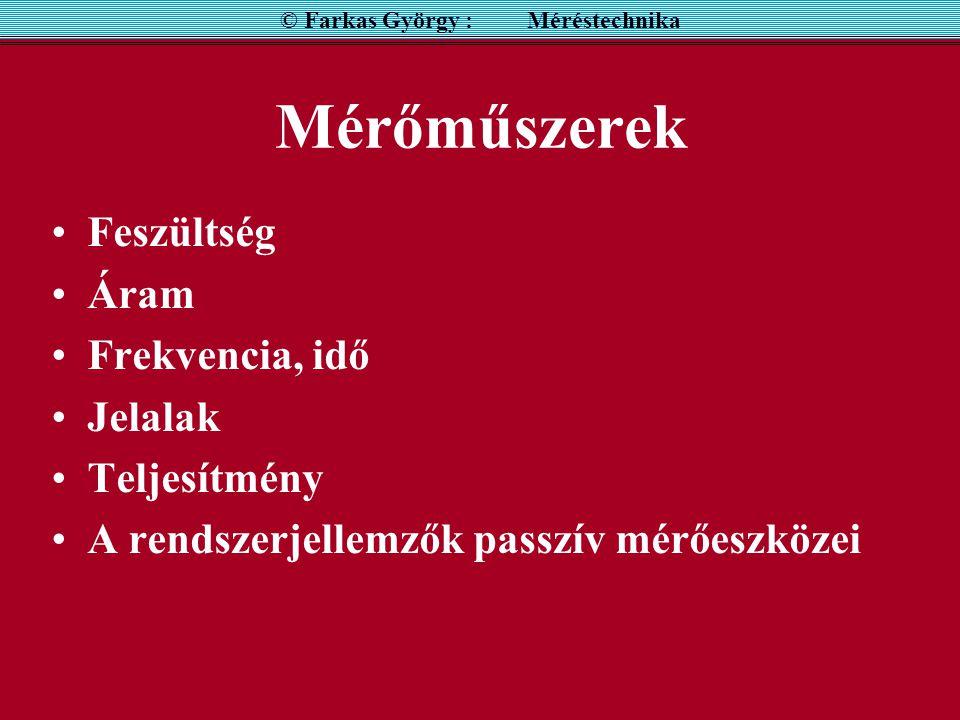 FREKVENCIAMÉRÉS REZONANCIA MÓDSZERREL © Farkas György : Méréstechnika Pontatlan (  10 -2 ), csak pontosabb módszerek kiegészítéseként alkalmazzuk.