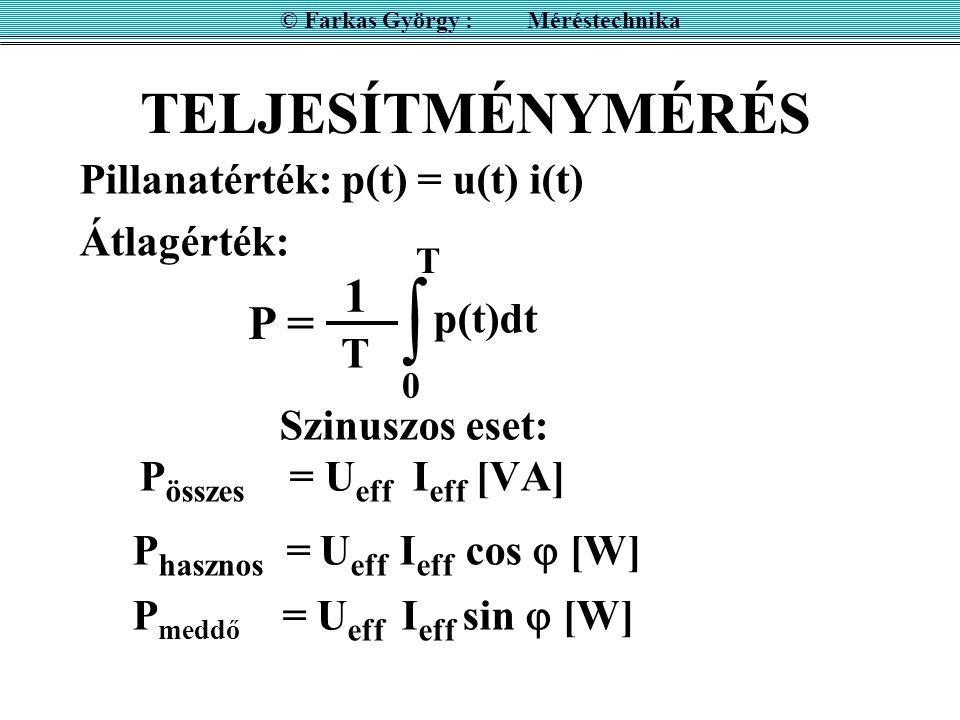 TELJESÍTMÉNYMÉRÉS Pillanatérték: p(t) = u(t) i(t) Átlagérték: © Farkas György : Méréstechnika P = 1 T  0 p(t)dt T