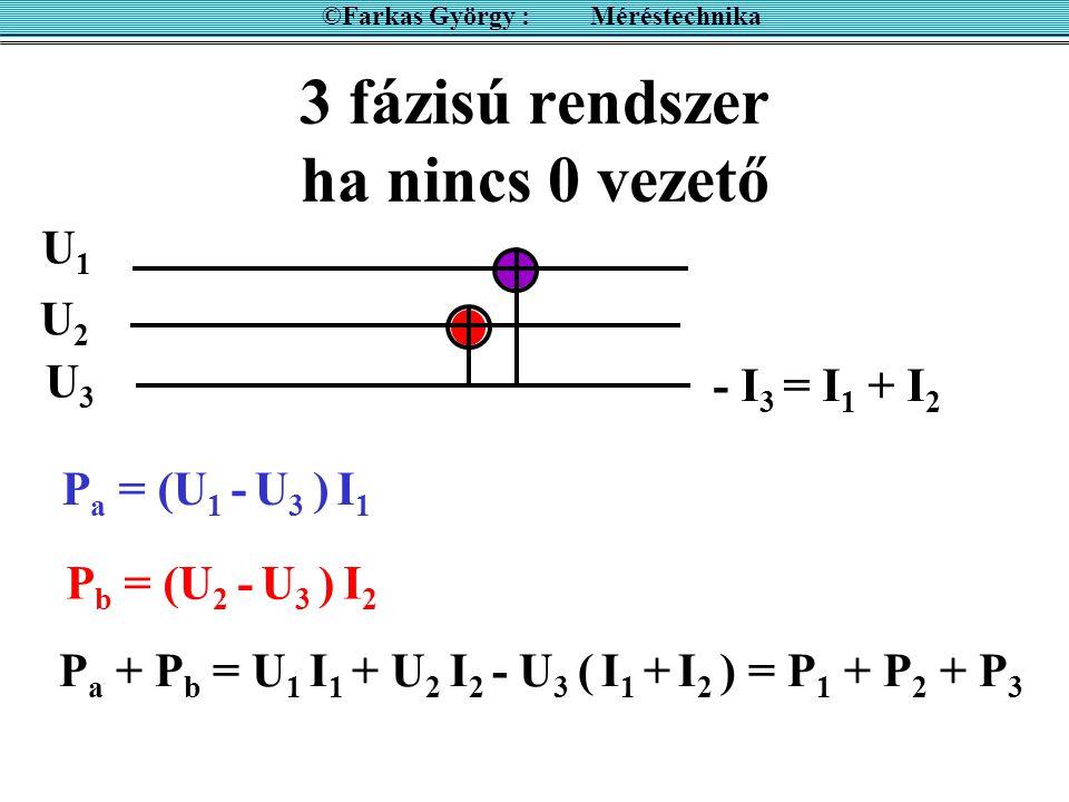 3 fázisú rendszer 0 vezetővel ©Farkas György : Méréstechnika P 2 = I 2 U 2 P 1 = I 1 U 1 P 3 = I 3 U 3 P = P 1 + P 2 + P 3 0