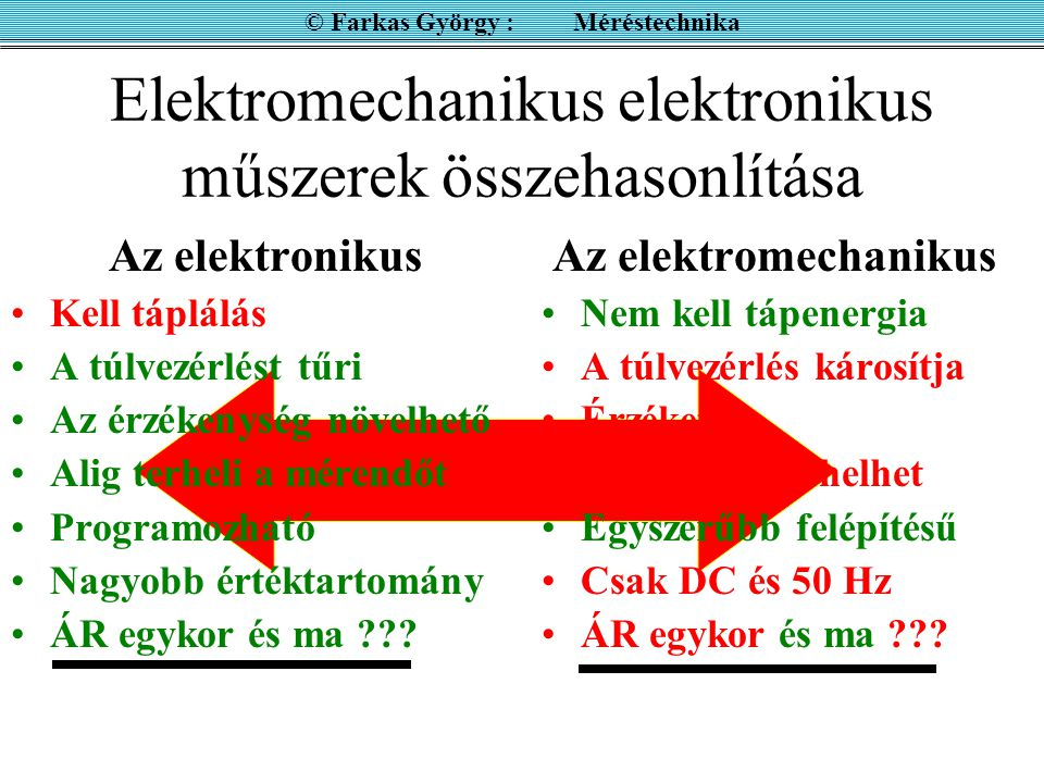 """Egyenfeszültség és egyenáram mérése villamos műszerrel ( Nem elektronikus készülékek ) Forgótekercses áram (feszültség) mérő (""""Deprez , még gyakran használatos) Lágyvasas áram (feszültség) mérő igazi effektív értéket mér, de nemlineáris a skálája és csak 50 Hz."""