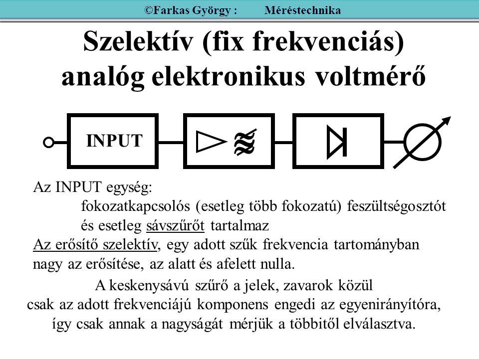 Közvetlenül mutató analóg frekvenciamérő ©Farkas György : Méréstechnika UNI Az UNI egység uniformizált, azaz állandó szélességű és állandó amplitúdójú impulzusokat ad a bemeneti jellel szinkronban.