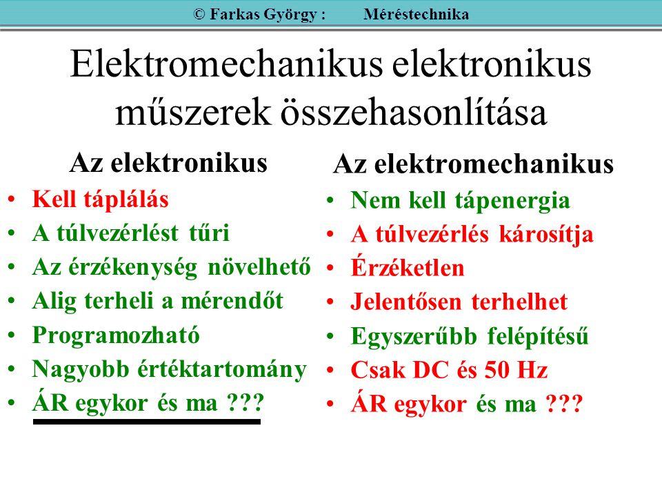 Elektromechanikus elektronikus műszerek összehasonlítása Az elektromechanikus Nem kell tápenergia A túlvezérlés károsítja Érzéketlen Jelentősen terhelhet Egyszerűbb felépítésű Csak DC és 50 Hz ÁR egykor és ma ??.
