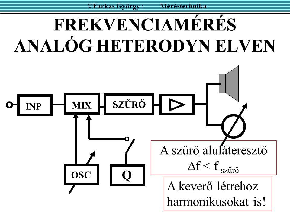 A HETERODYN ELV ©Farkas György : Méréstechnika OSC INP MIX f be fofo f ki   f  f be SZŰRŐ Ha a szűrő sávszűrő f 1 f 2 határfrekvenciával U ki f1f1 f2f2    ha kisfrekvenciás fo fo