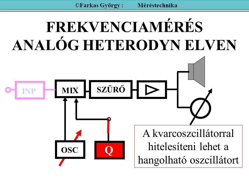 FREKVENCIAMÉRÉS ANALÓG HETERODYN ELVEN ©Farkas György : Méréstechnika A szűrő aluláteresztő  f < f szűrő INP OSC MIX SZŰRŐ Q A keverő létrehoz harmonikusokat is!