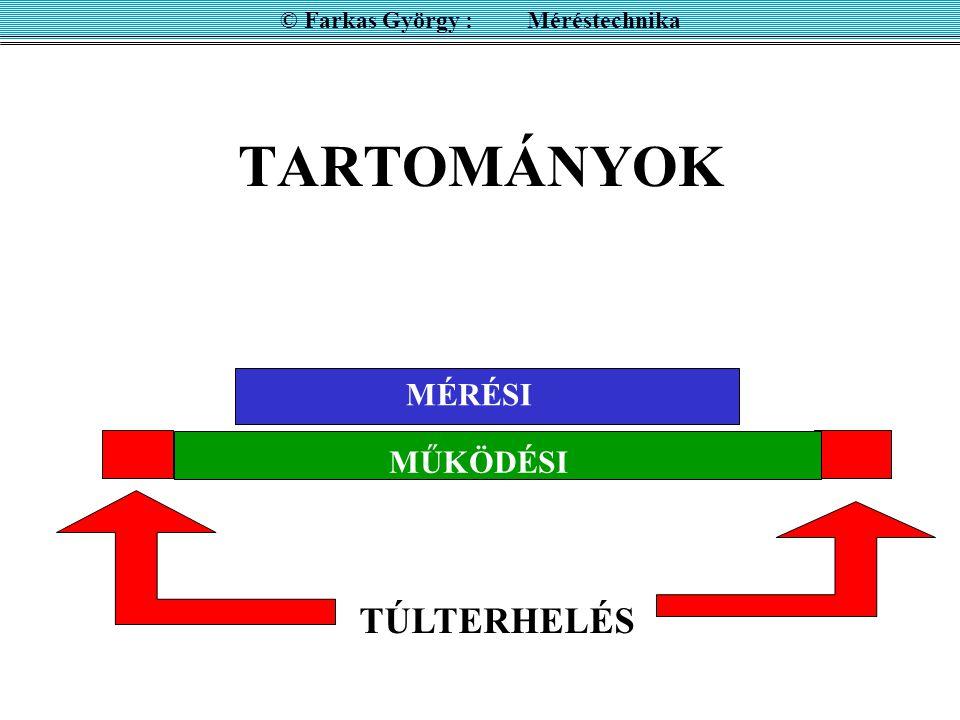 TARTOMÁNYOK MÉRÉSI MŰKÖDÉSI TÚLTERHELÉS © Farkas György : Méréstechnika