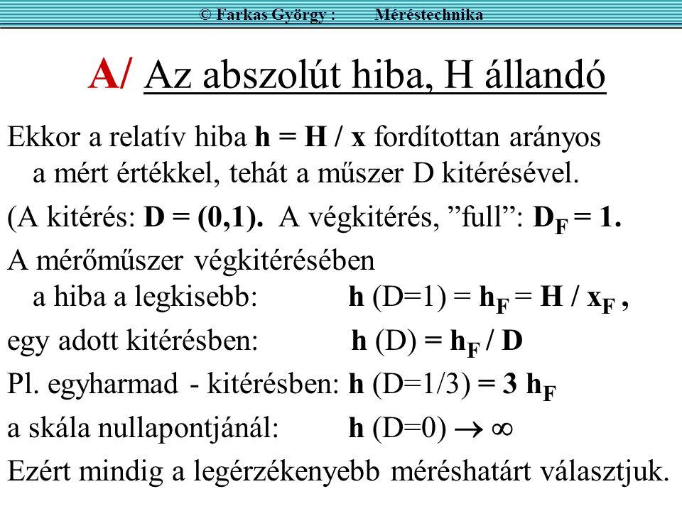 A/ Az abszolút hiba, H állandó Ekkor a relatív hiba h = H / x fordítottan arányos a mért értékkel, tehát a műszer D kitérésével.